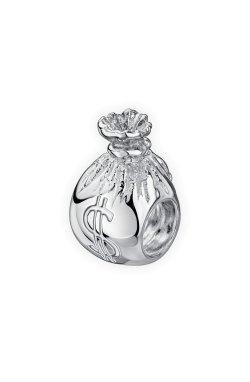 Серебряный шарм подвеска денежный мешок small из родированного серебра 925-й пробы (31 73 )