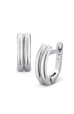 Серьги гладкие без вставок серебро из родированного серебра 925-й пробы ( 07 )