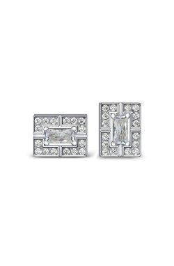 Серебряные серьги геометрия с фианитами из родированного серебра 925-й пробы с куб. циркониями ( 59 )