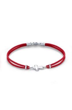 Браслет на красной нити с эмалью из родированного серебра 925-й пробы (58 4 2)