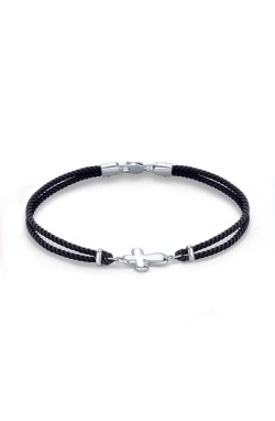 Черный шелковый браслет с эмалью из серебра из родированного серебра 925-й пробы (58 4 1)
