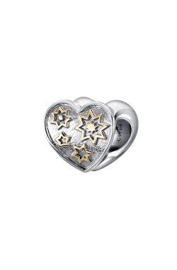 """Серебряная бусина шарм """"солнечное сердце"""" из родированного серебра 925-й пробы (3114682 1)"""