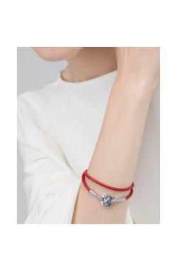 Красный двойной кожаный браслет плетеный из родированного серебра 925-й пробы с корундом (5 528 )