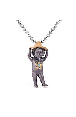 Серебряный кулон №7 малышка шоколадная из родированного серебра 925-й пробы с шпинелью синтетической (3 4602 1)