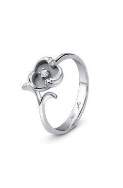Серебряное кольцо с бриллиантом волна из родированного серебра 925-й пробы с бриллиантом (151570 )