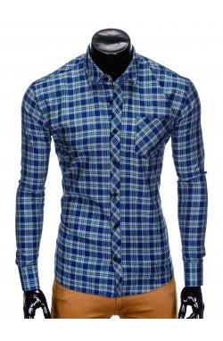 Рубашка мужская R418 - Синий/зеленый