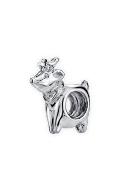 Серебряная бусина рождественский олень из родированного серебра 925-й пробы (31 64 )
