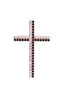Золотой крест с черными и белыми фианитами из красного золота 585-й пробы с куб. циркониями (3 5493)