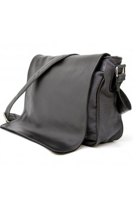 Мужская сумка через плечо микс кожи и холщевой ткани канвас TARWA GG-1047-3md Серо-черная