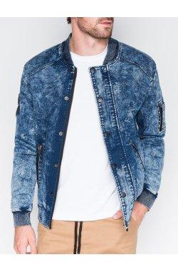 Мужская куртка демисезонная бомбер C240 - синяя - Ombre