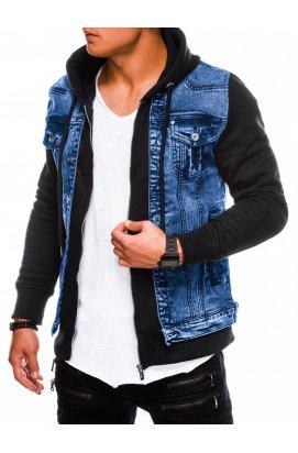 Мужская куртка джинсовая демисезонная C322 - джинс/чёрная - Ombre