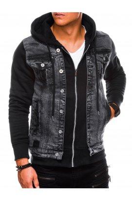 Мужская куртка джинсовая демисезонная C322 - чёрная - Ombre