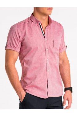 Мужская рубашка с коротким рукавом K489 - красная - Ombre