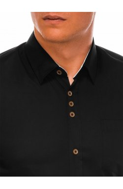 Мужская рубашка элегантная с длинным рукавом K302 - черная - Ombre