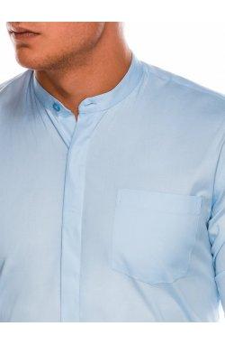 Мужская рубашка элегантная с длинным рукавом K307 - голубая - Ombre