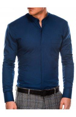Мужская рубашка элегантная с длинным рукавом K307 - темно-синяя - Ombre