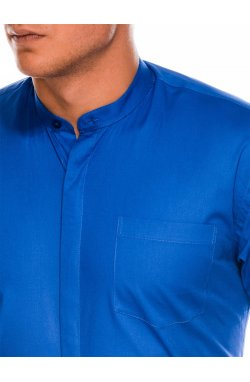 Мужская рубашка элегантная с длинным рукавом K307 - синяя - Ombre