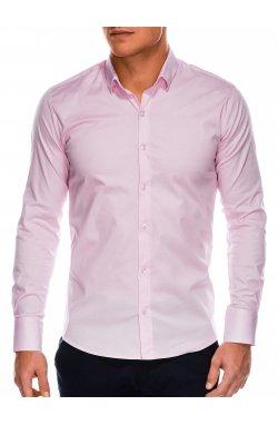 Мужская рубашка с длинным рукавом K504 - розовая - Ombre