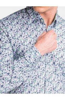 Мужская рубашка с длинным рукавом K491 - белая/зелёная - Ombre