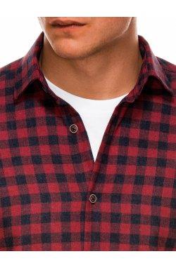 Мужская рубашка в клеточку с длинным рукавом K509 - красная - Ombre