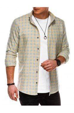 Мужская рубашка в клеточку с длинным рукавом K509 - жёлтая - Ombre