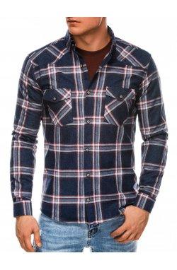 Мужская рубашка в клеточку с длинным рукавом K510 - темно-синяя - Ombre