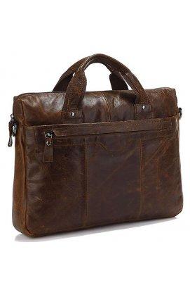 Кожаная сумка для документа с отделением для нетбука Vintage 14059 Коричневая, Коричневый