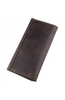 Кожаный клатч унисекс на магните GRANDE PELLE 11215 Коричневый, Коричневый