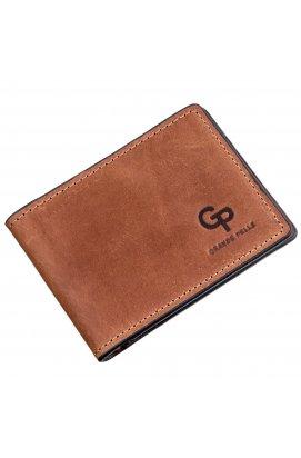 Компактний затиск для грошей без застібки GRANDE PELLE 11240 Коричневий, Коричневий