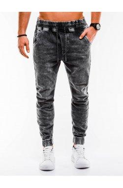 Мужские брюки джинсовые джоггеры P907 - серый - Ombre