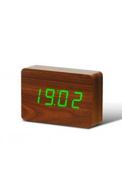 "Смарт-будильник с термометром ""BRICK"", коричневый - wos8019"