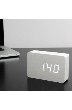 "Смарт-будильник с термометром ""BRICK"", белый - wos8023"