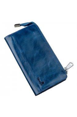 Клатч унисекс кожаный глянцевый SHVIGEL 16183 Синий, Синий