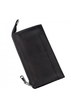 Клатч кожаный матовый SHVIGEL 16191 Черный, Черный