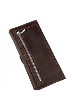 Бумажник мужской из винтажной кожи SHVIGEL 16207 Темно-коричневый, Коричневый