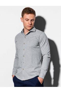 Мужская рубашка с длинным рукавом K540 - серый - Ombre