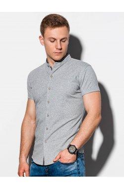 Мужская рубашка с коротким рукавом K543 - серый - Ombre