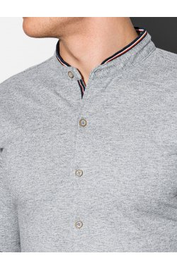 Мужская рубашка с длинным рукавом K542 - серый - Ombre