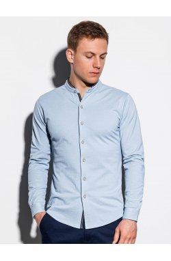 Мужская рубашка с длинным рукавом K542 - синий - Ombre
