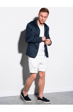 Мужской повседневный пиджак с капюшоном M156 - темно-синий - Ombre