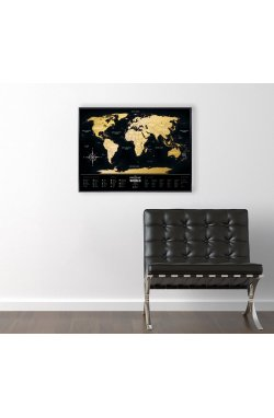 Скретч карта мира Travel Map Black World в раме - wos1672