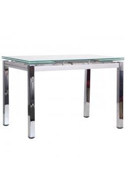 Стол обеденный раскладной Сандро хром/стекло белый - AMF - 545795
