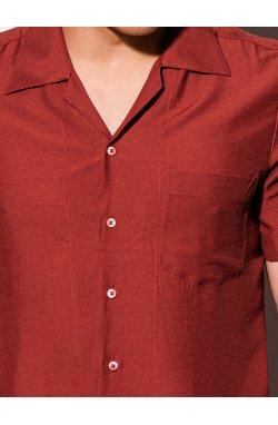 Мужская рубашка с коротким рукавом K561 - кирпичный - Ombre