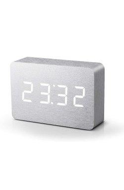 "Смарт-будильник с термометром ""BRICK"", белый алюминий - wos8346"