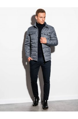 Чоловіча куртка демісезонна стьобана C452 - сірий - Ombre