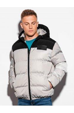 Мужская куртка зимняя стеганая C458 - серая - Ombre