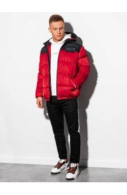 Мужская зимняя куртка C458 - красная - Ombre