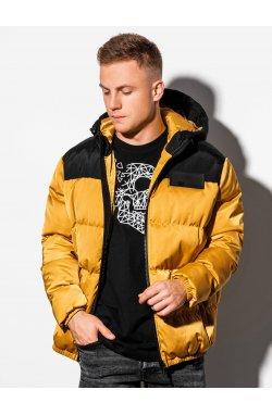 Мужская зимняя куртка C458 - жёлтая - Ombre