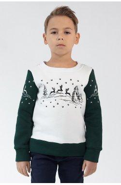 Рождественский свитшот для мальчика Олени Green