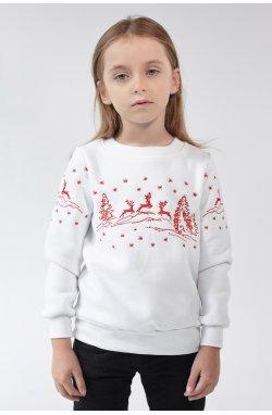 Рождественский свитшот для девочки c Оленями White